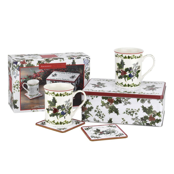 Portmeirion The Holly and The Ivy 5 piece Mug and Tin Set