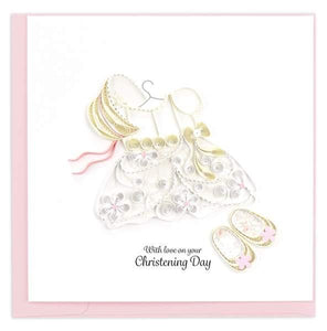 Quilled Girl's Christening Card