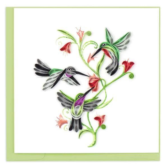 Quilled Hummingbird Trio Greeting Card