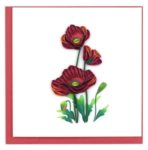 Quilled Red Poppies Cards