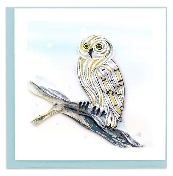 Quilled Snowy Owl Greeting Card