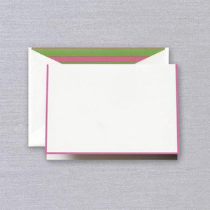 Raspberry Pink Border Pearl White Boxed Notes with Green & Raspberry Envelope Liner