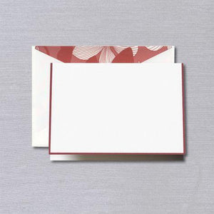 Red Bordered Pearl White Boxed Notes with Bryana Red Floral Envelope Liner