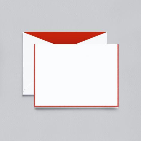 Red Bordered Pearl White Boxed Notes with Red Envelope Liner
