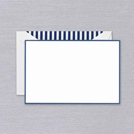 Regent Blue Bordered Pearl White Boxed Cards with Striped Envelope Liner
