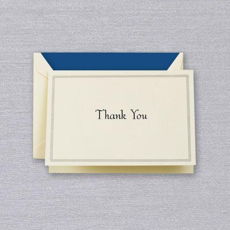 Regent Blue Hairline Framed Thank You Ecru Boxed Notes