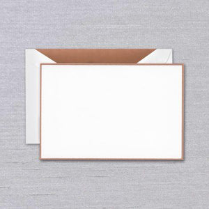 Rose Gold Bordered Pearl White Boxed Card