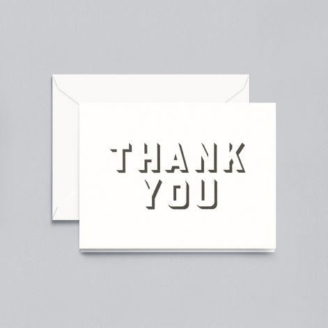 Crane Paper Shadow Pressed Thank You Pearl White Lettra® Boxed Notes