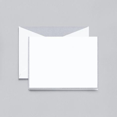 Silver Bordered Pearl White Boxed Notes with Silver Envelope Liner