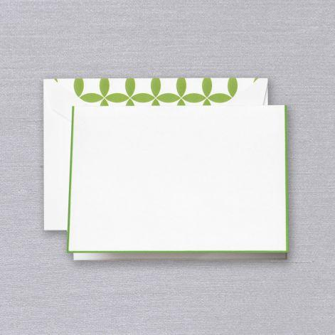 Spring Green Bordered Pearl White Boxed Notes with Verdant Mod Envelope Liner