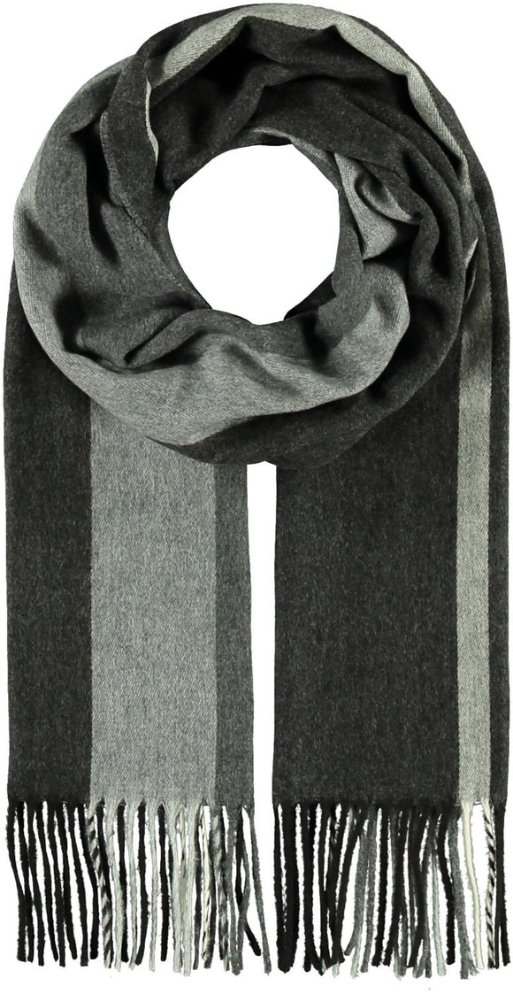 Wide Stripe Scarf Black