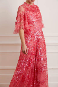 Anais Sequin Gown - Dark Pink