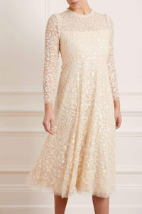 Aurelia Long Sleeve Ballerina Dress - Beige