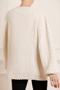 Elsie Cable Longline Cardigan - Cream