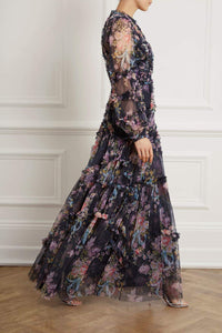 Floral Diamond Ruffle Gown