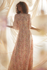 Floral Oasis Lace Gown