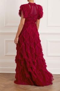 Genevieve Ruffle Gown - Red
