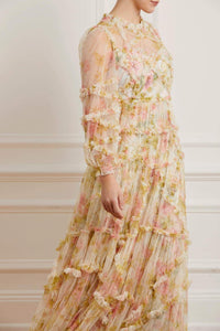 Harlequin Rose Ruffle Gown - Beige
