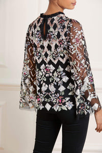 Harlequin Rose Sequin Top - Black