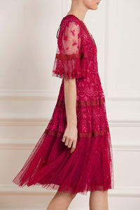 Lottie Lace Mide Dress - Red