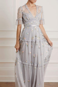 Madeline Ditsy Short Sleeve Gown