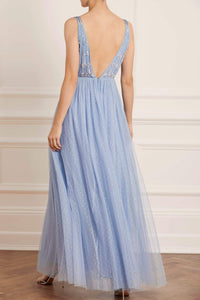 Neve Embellished Bodice Maxi Dress - Butterfly Blue