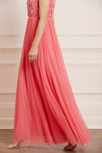 Neve Embellished Bodice Maxi Dress - Dark Pink