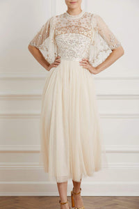 Patchwork Sequin Bodice Round Neck Ballerina Dress - Beige