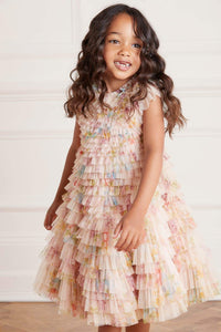 Petra Diamond Ruffle Kids Dress - Pink