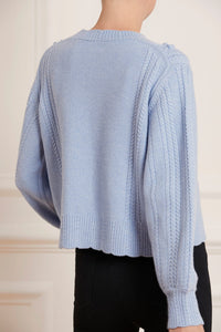 Rose Bobble Stitch Short Jumper - Iris Blue