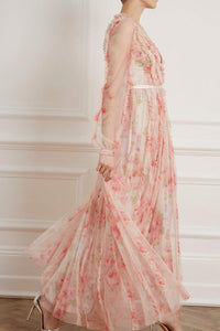 Ruby Bloom Garland V-Neck Gown