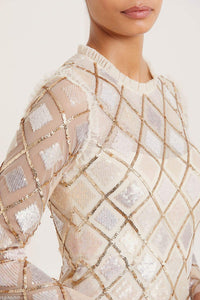 Sequin Diamond Ballerina Dress - Beige