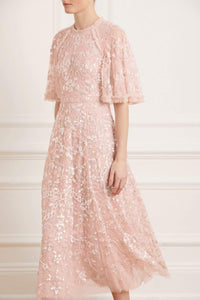 Sequin Ribbon Ballerina Dress - Pink