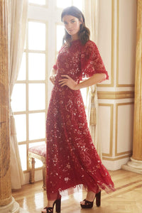 Sequin Ribbon Gown - Red