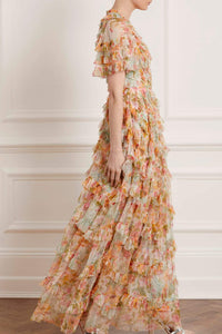 Sunset Garden V-Neck Gown - Ivory