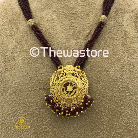 Thewa Jewellery Round Amogh Small Designer Necklace - ThewaStore