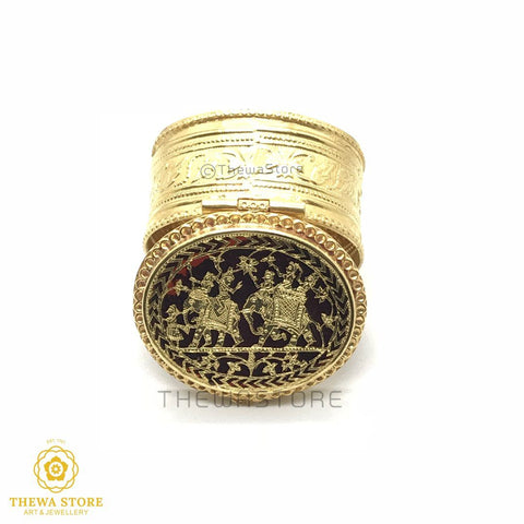 Original Thewa Art Jewellery Handmade Oval Sindoor Box - ThewaStore