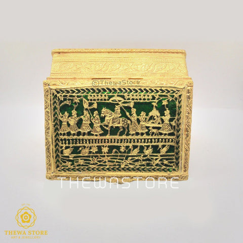 Original Thewa Art Jewellery Handmade Square Hunting Sindoor or Art Box (souvenir Collection ) Box Thewa Store1