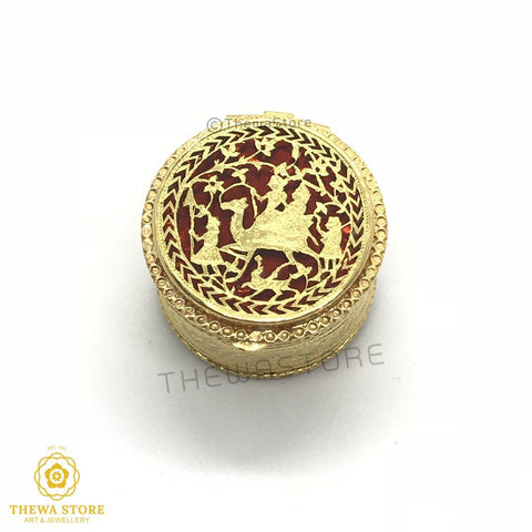 Original Thewa Art Jewellery Handmade Round Camel Sindoor/Art Box - ThewaStore