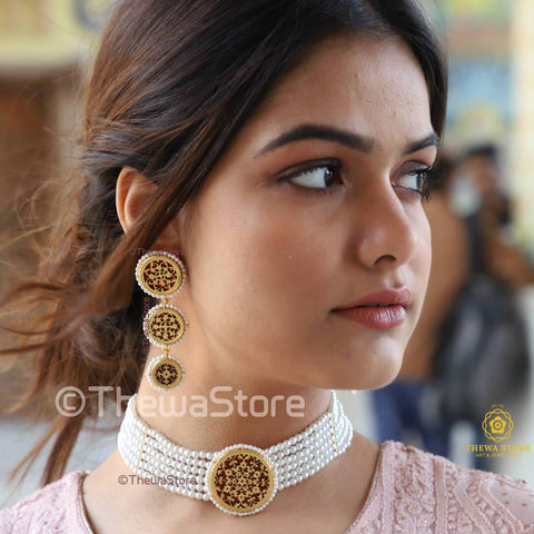 Thewa Jewellery Designer Choker Necklace with 3 Layer Earrings Necklace Thewa Store1