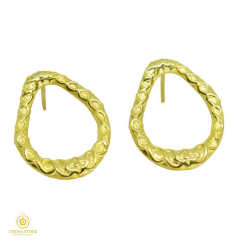 925 Silver Sterling Jewellery Emboss earrings Earrings Thewa Store1