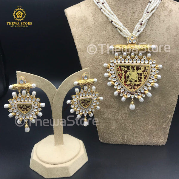 Original Thewa Art Designer Elephant with Kundan Necklace Necklace Thewa Store1