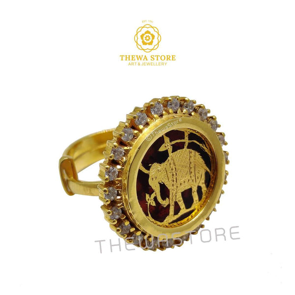 Thewa Art Elephant  Diamond Ring - ThewaStore