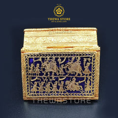 Original Thewa Art Jewellery Handmade Square  Hunting Sindoor or Art Box  (souvenir Collection ) - ThewaStore