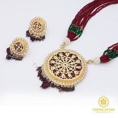Thewa art jewellery Round floral Necklace Set Necklace Thewa Store1