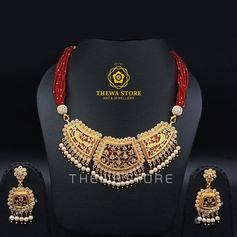 Thewa Jewellery Chand Shape Necklace (3 pieces ) - ThewaStore