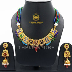 Thewa art Necklace 9 piece Multicoloured Necklace set - ThewaStore
