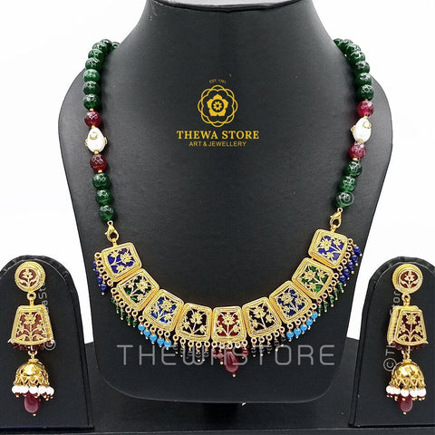 Thewa art Necklace 9 piece Multicoloured Necklace set Necklace Thewa Store1