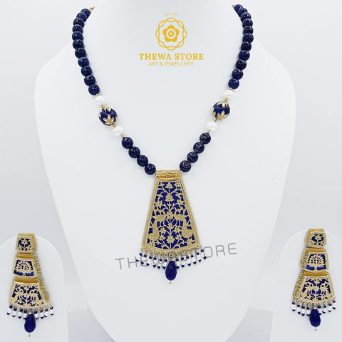 Thewa art jewellery Glass ghat Necklace set with 3 Step earrings Necklace Thewa Store1