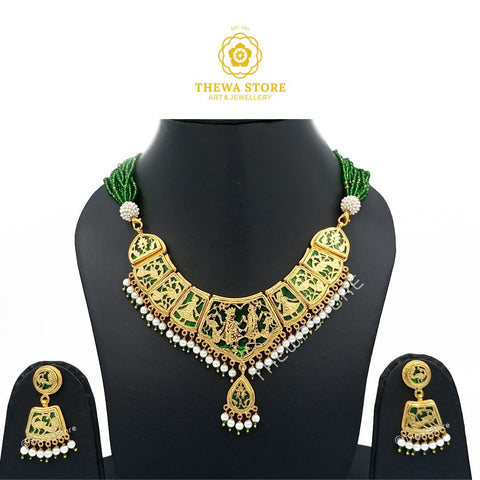 Thewa Jewellery Full Neck Cover Radhe Krishna Necklace - ThewaStore